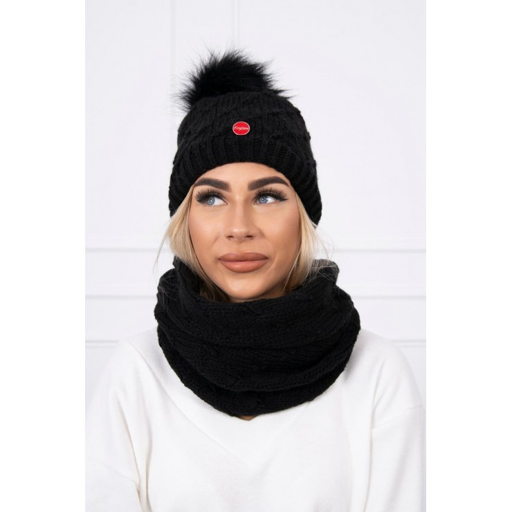 Women's Winter Set hat and scarf  MIK129 black