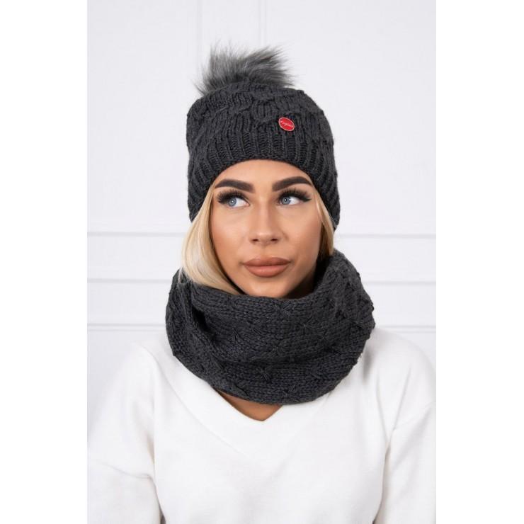 Women's Winter Set hat and scarf  MIK129 graphite
