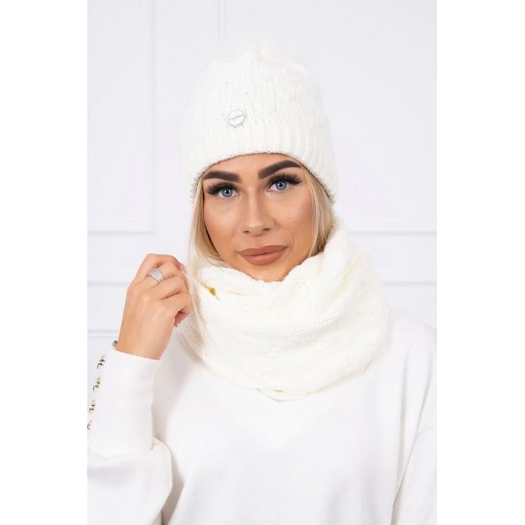 Women's Winter Set hat and scarf  MIK129 cream