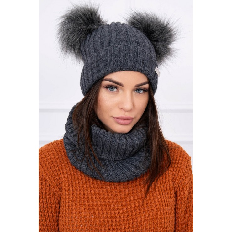Women's Winter Set hat and scarf  MIK120 graphite