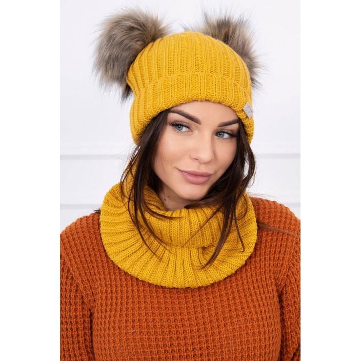 Women's Winter Set hat and scarf  MIK120 mustard