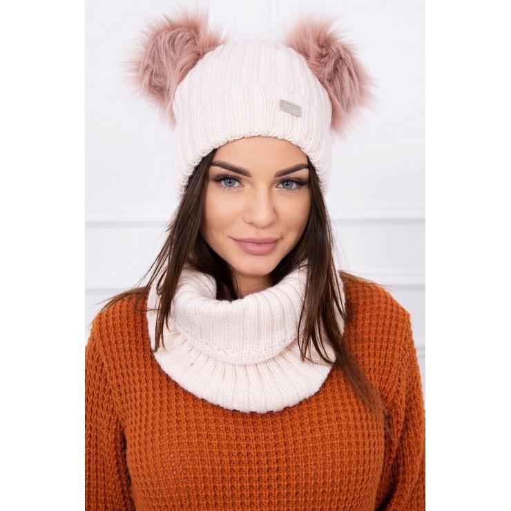 Women's Winter Set hat and scarf  MIK120 powder pink
