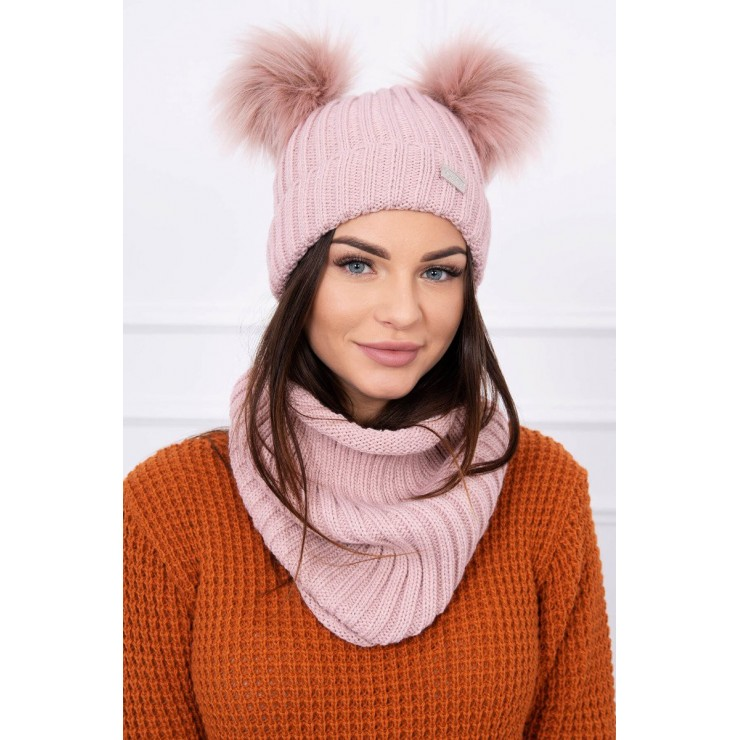 Women's Winter Set hat and scarf  MIK120 pink