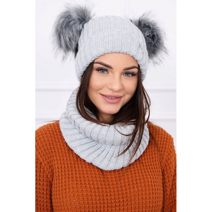 Women's Winter Set hat and scarf  MIK120 gray