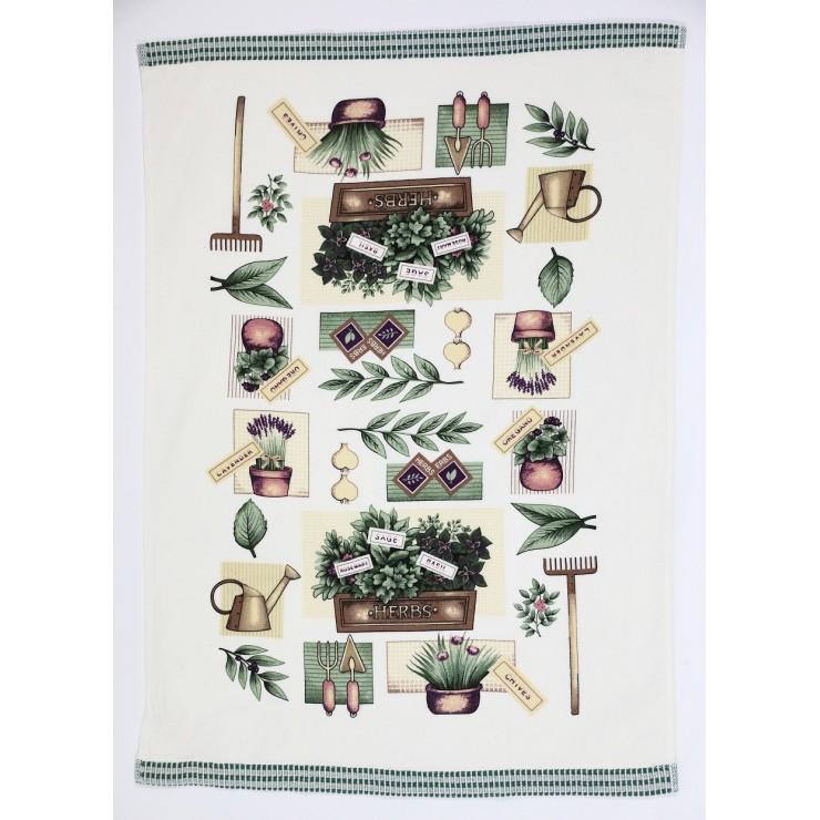 Stylish decorative kitchen towel Herbs 50 x 70 cm