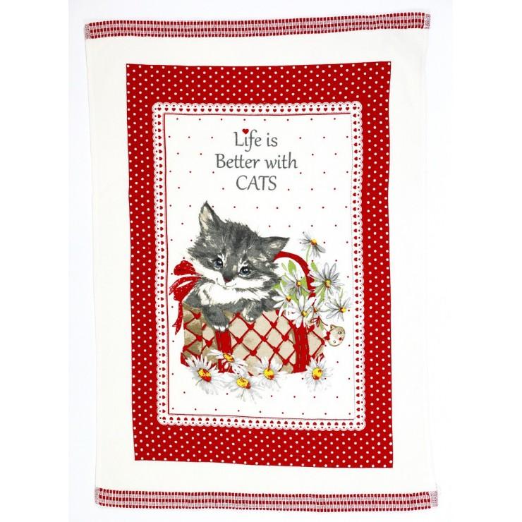 Stylish decorative kitchen towel Kitty 50 x 70 cm