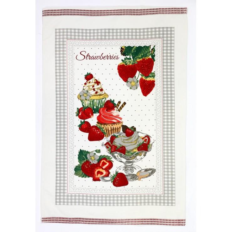 Kitchen towel Strawberries 50 x 70 cm