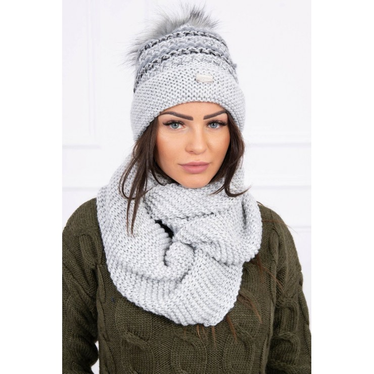 Women's Winter Set hat and scarf  MIK123 gray