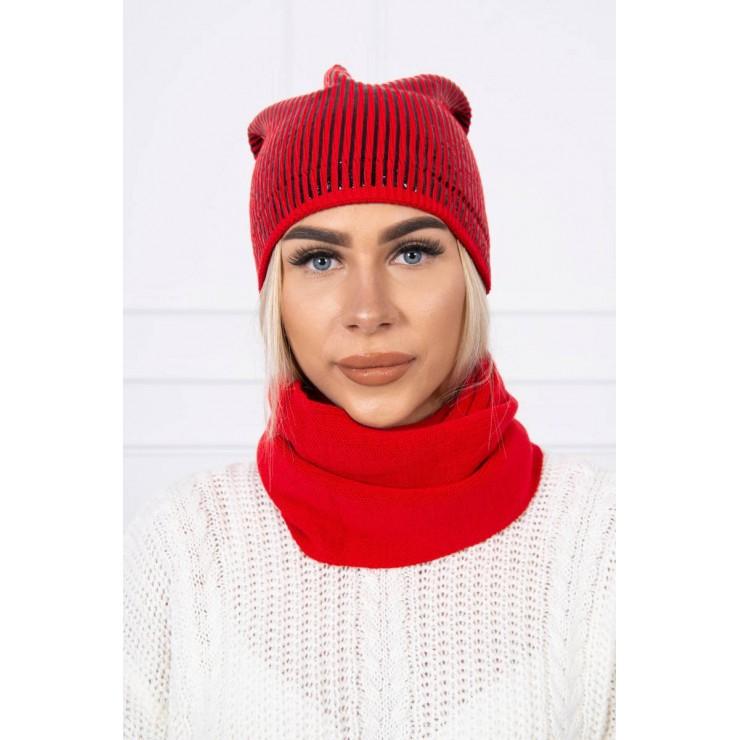 Dámsky set čiapka a nákrčník MIK139 červený