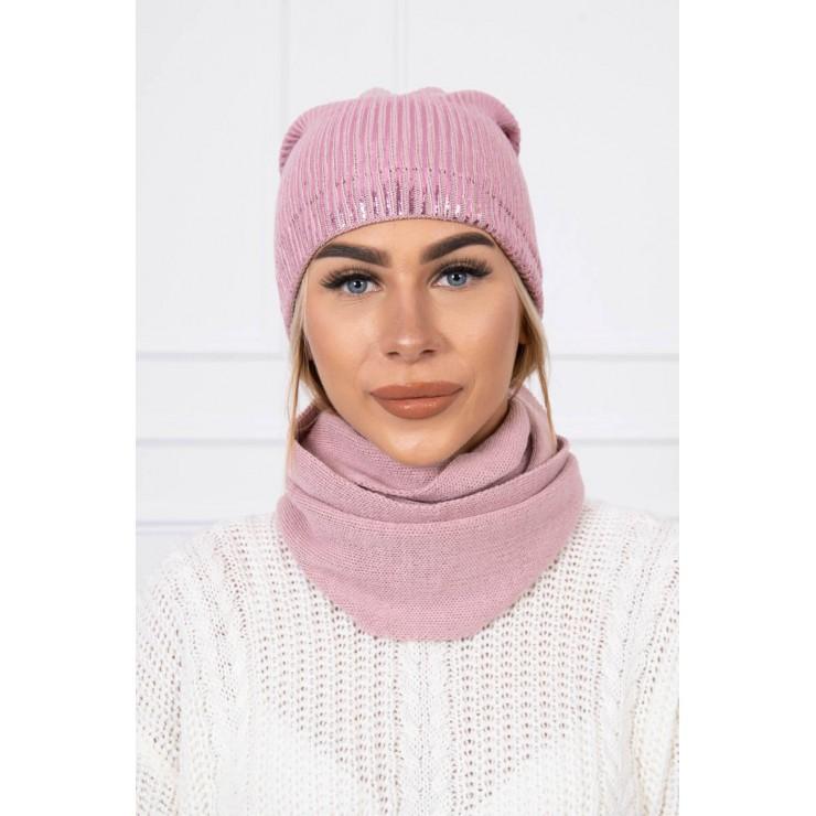Dámsky set čiapka a nákrčník MIK139 pudrovo ružový
