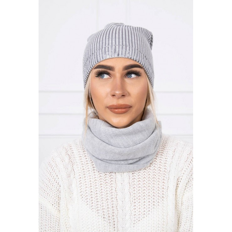 Women's Winter Set hat and scarf  MIK139 gray