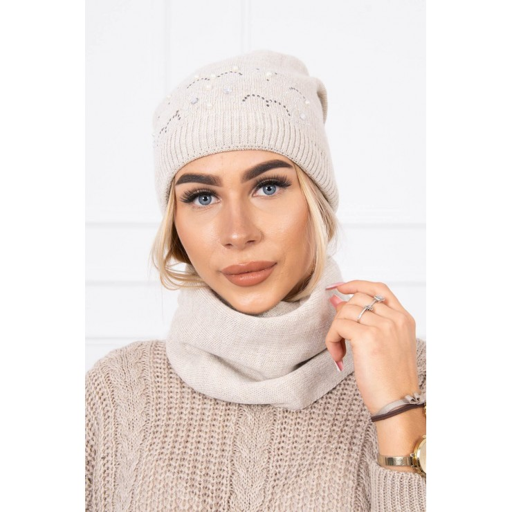 Women's Winter Set hat and scarf  MIK138 beige