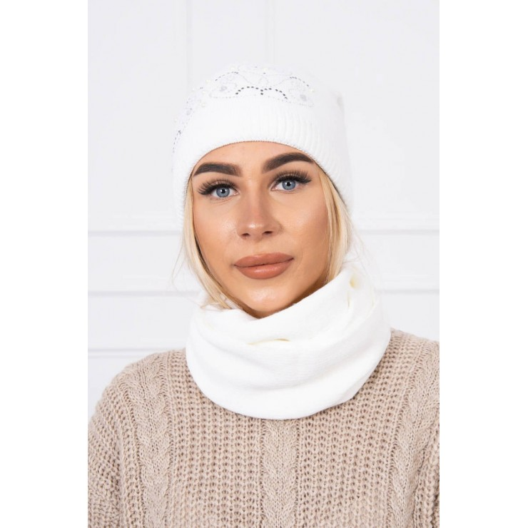 Women's Winter Set hat and scarf  MIK138 white