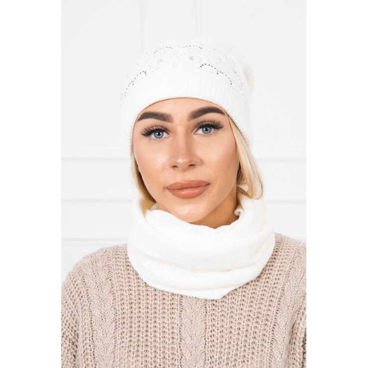 Women's Winter Set hat and scarf  MIK138 cream