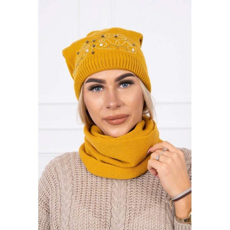 Women's Winter Set hat and scarf  MIK138 mustard