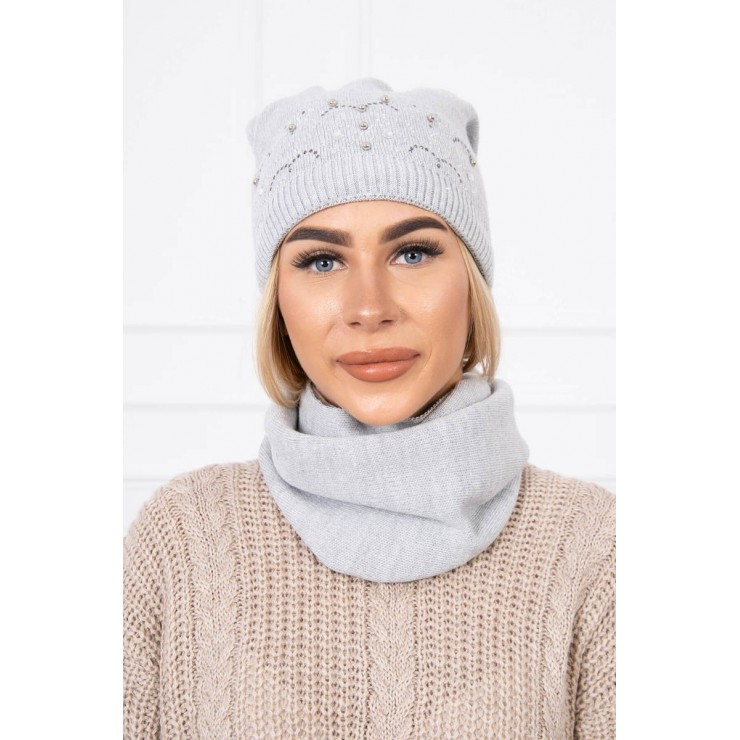 Women's Winter Set hat and scarf  MIK138 gray