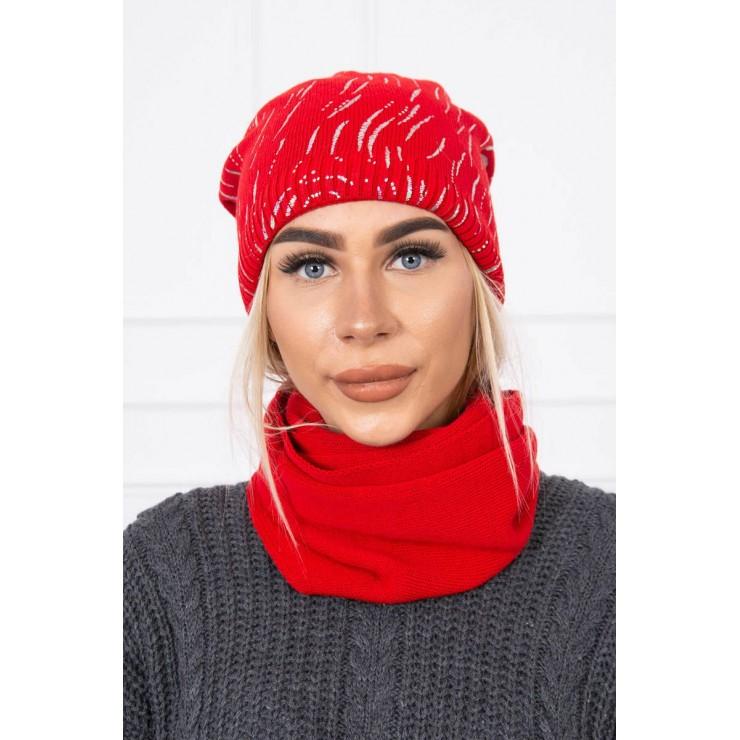 Dámsky set čiapka a nákrčník MIK137 červený