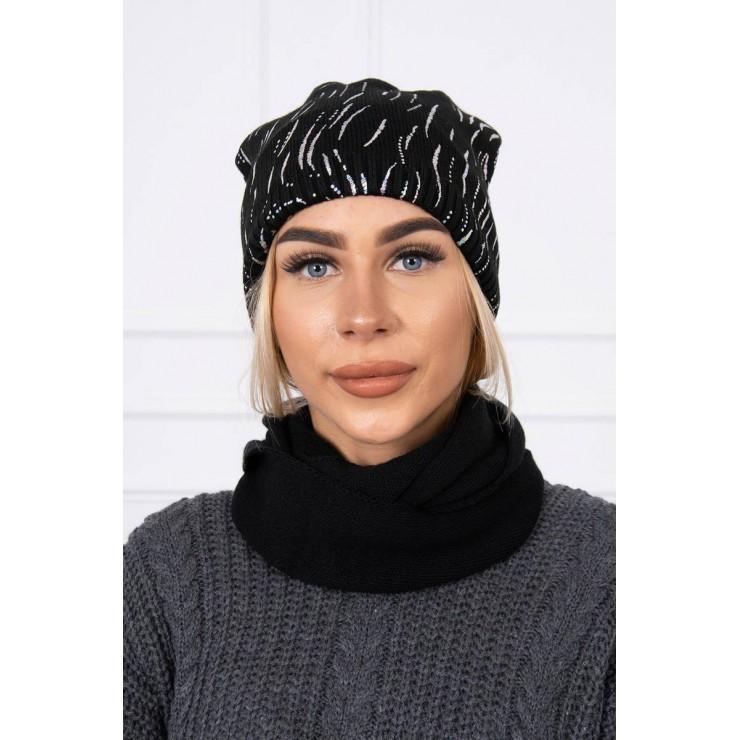 Dámsky set čiapka a nákrčník MIK137 čierny