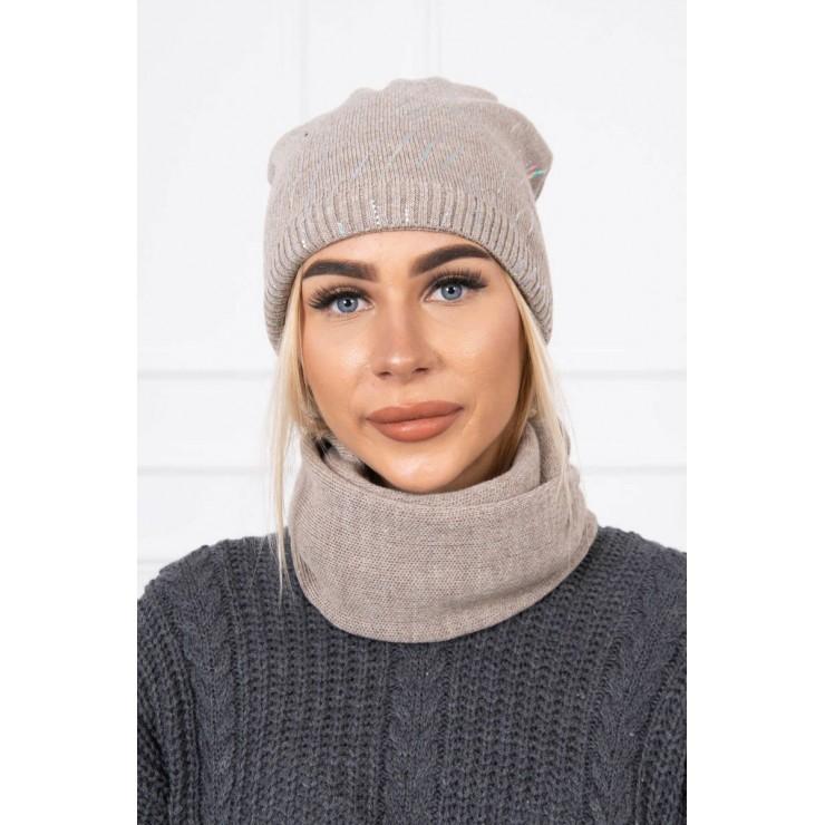Women's Winter Set hat and scarf  MIK137 dark beige