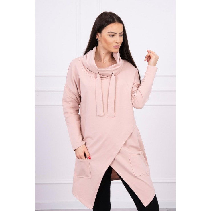 Tunic with envelope front oversize MI0017 dark powder pink