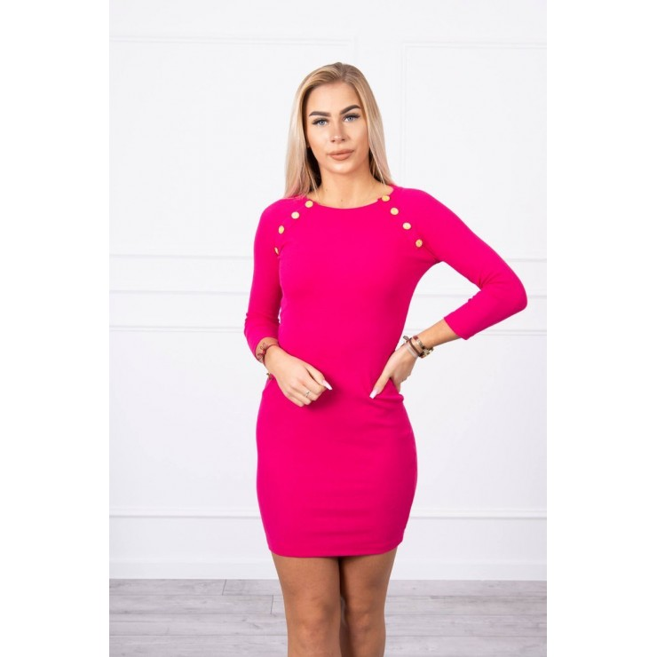 Women's dress decorated with buttons MI5918 fuxia