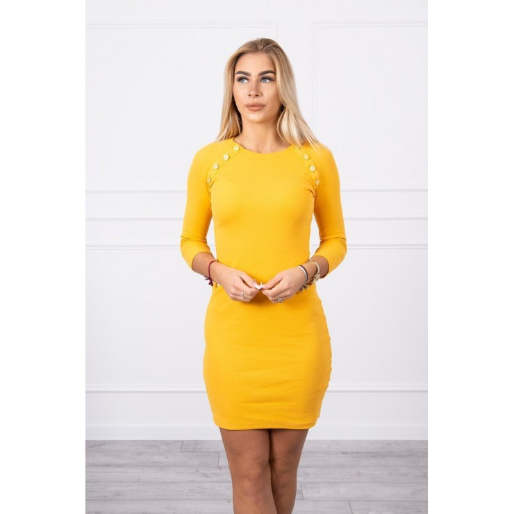 Women's dress decorated with buttons MI5918 mustard