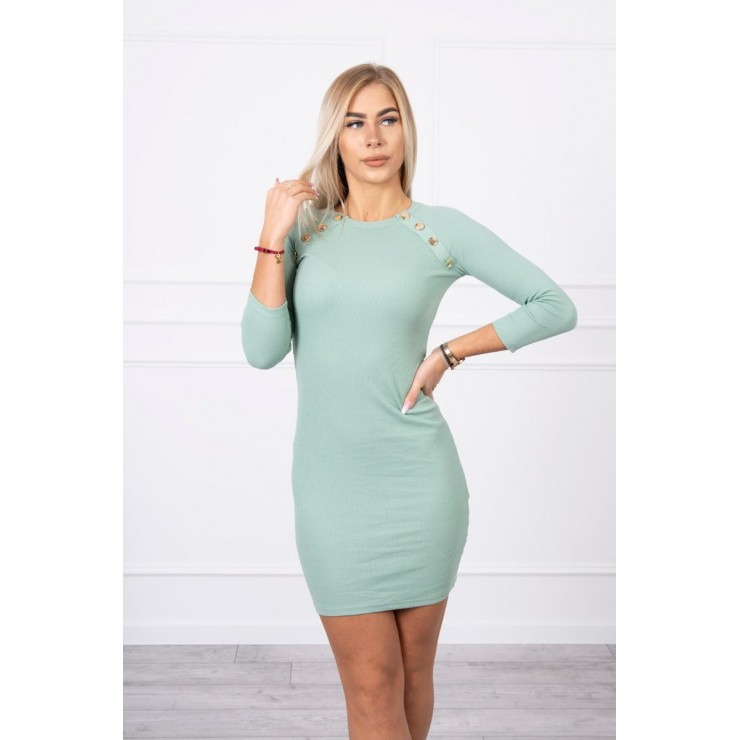Women's dress decorated with buttons MI5918 dark mint