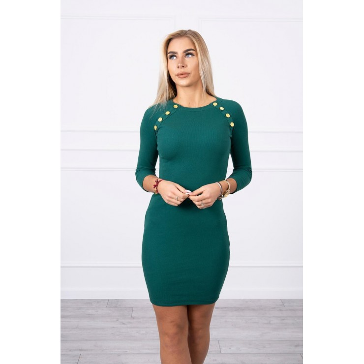 Women's dress decorated with buttons MI5918 green