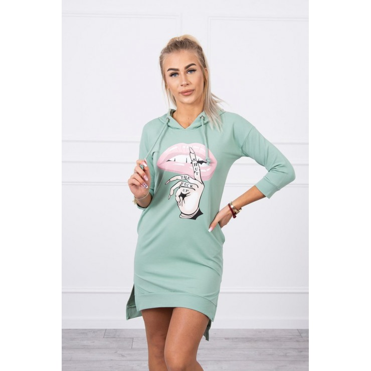 Dress with extended back and color print front MI64632 dark mint