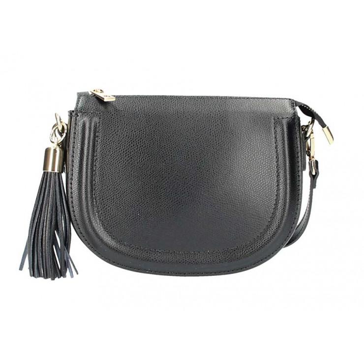 Čierna kožená kabelka na rameno 5300