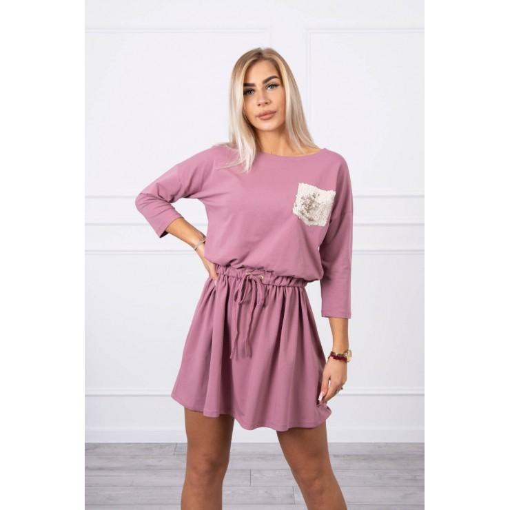 Dámske šaty s flitrovým vreckom MI9004 tmavoružové