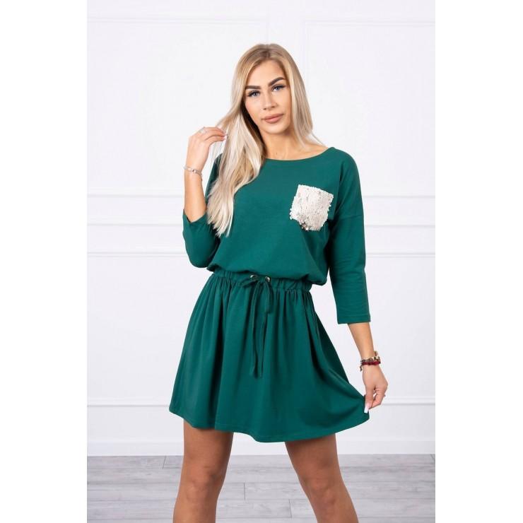 Dámske šaty s flitrovým vreckom MI9004 zelené
