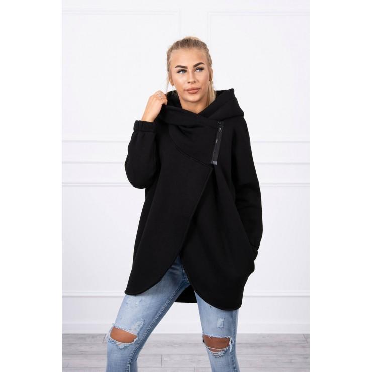 Women's sweatshirt with short zipper MI9110 black