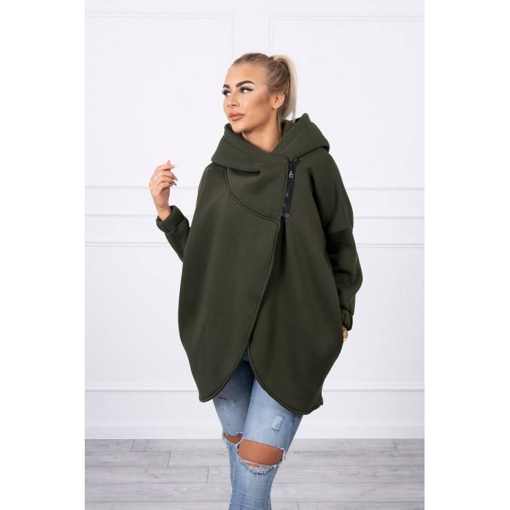 Women's sweatshirt with short zipper MI9110 dark green