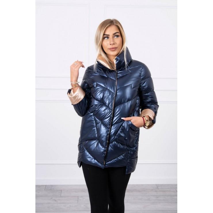 Quilted jacket with collar MI203 dark blue