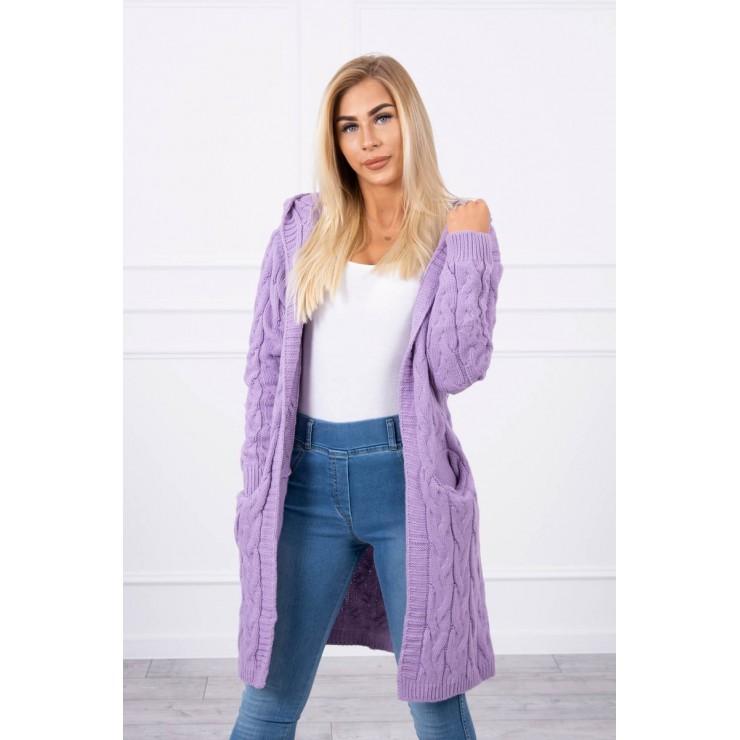Dámsky sveter s kapucňou a vreckami MI2019-24 fialový