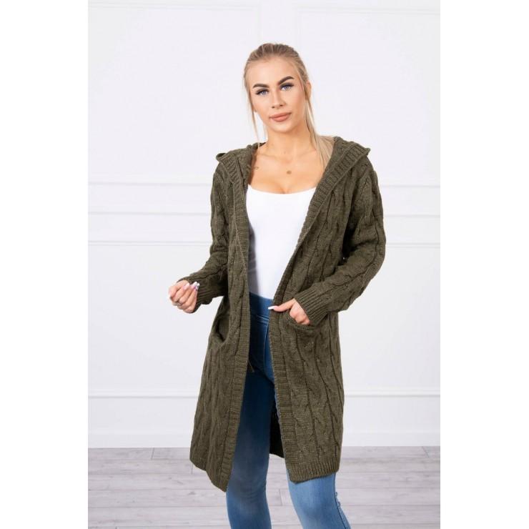 Dámsky sveter s kapucňou a vreckami MI2019-24 tmavozelený