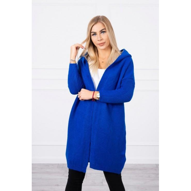 Dámsky sveter s kapucňou MI2020-14 azurovo modrý
