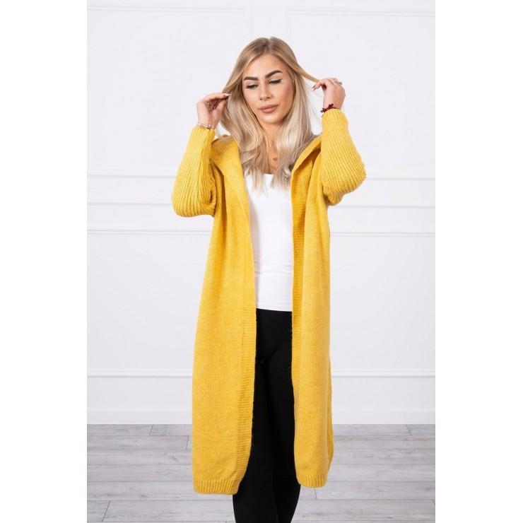 Dámsky sveter s kapucňou MI2020-14 okrový