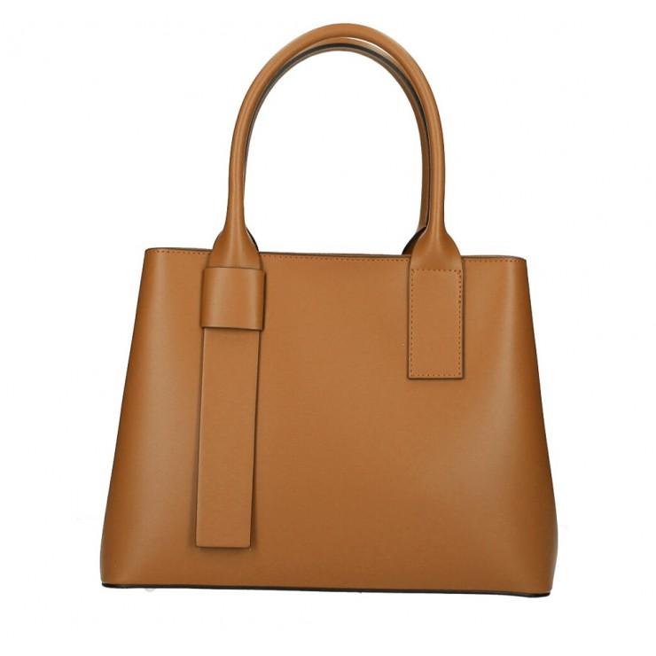 Genuine Leather Handbag 158 cognac Made in Italy
