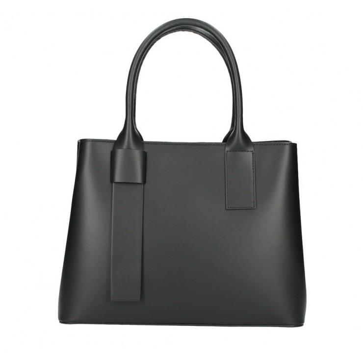 Kožená kabelka 158 čierna Made in Italy