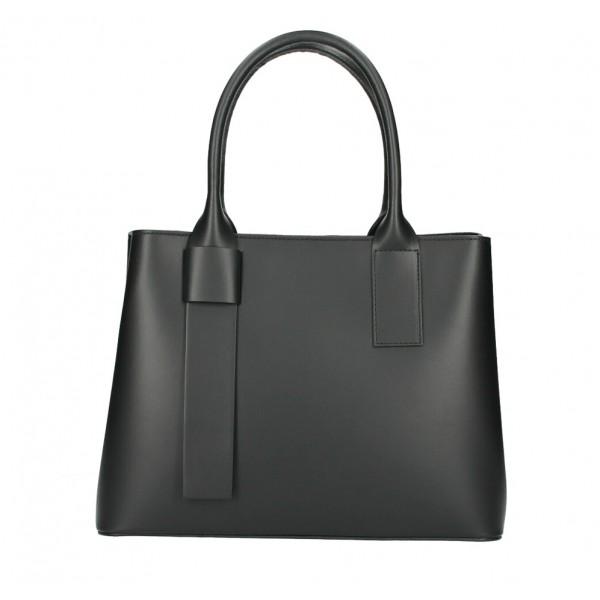 Kožená kabelka 158 čierna Made in Italy Čierna