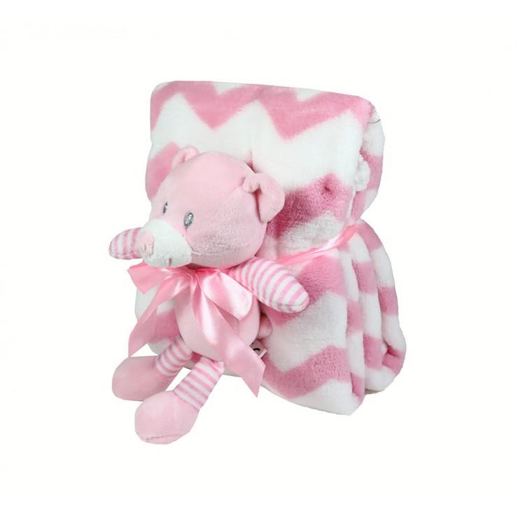 Detská deka 75x90 cm + hračka ružový medvedík