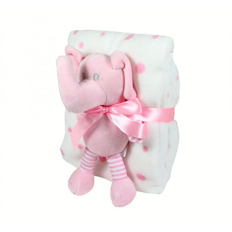 Detská deka 75x90 cm + hračka ružový sloník