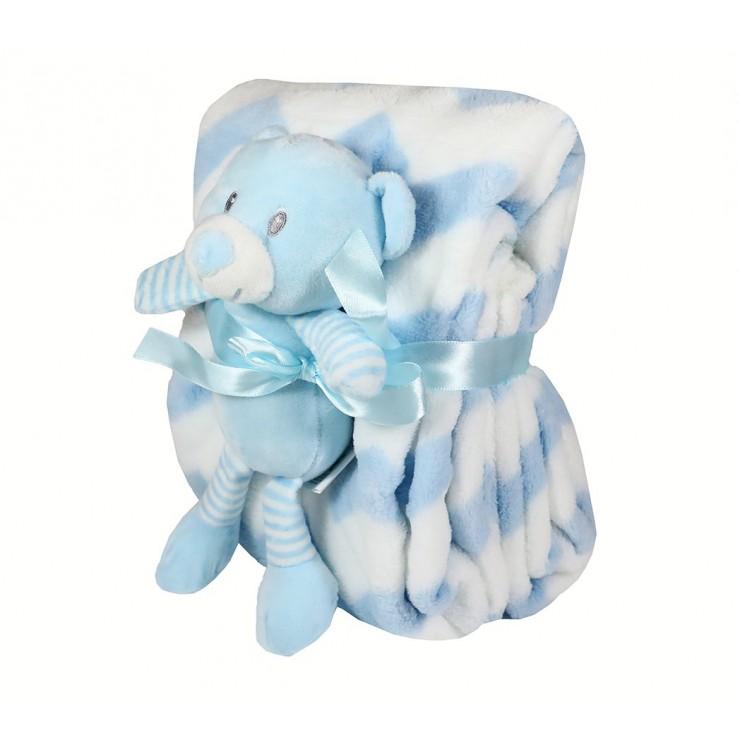 Detská deka 75x90 cm + hračka modrý medvedík