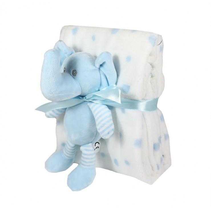 Detská deka 75x90 cm + hračka modrý sloník
