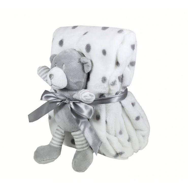 Detská deka 75x90 cm + hračka šedý medvedík