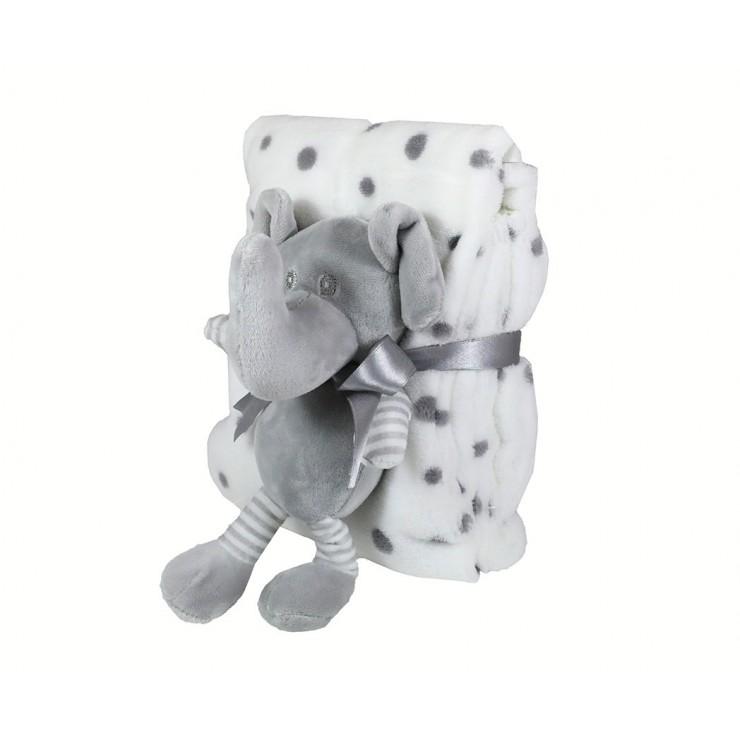 Detská deka 75x90 cm + hračka šedý sloník