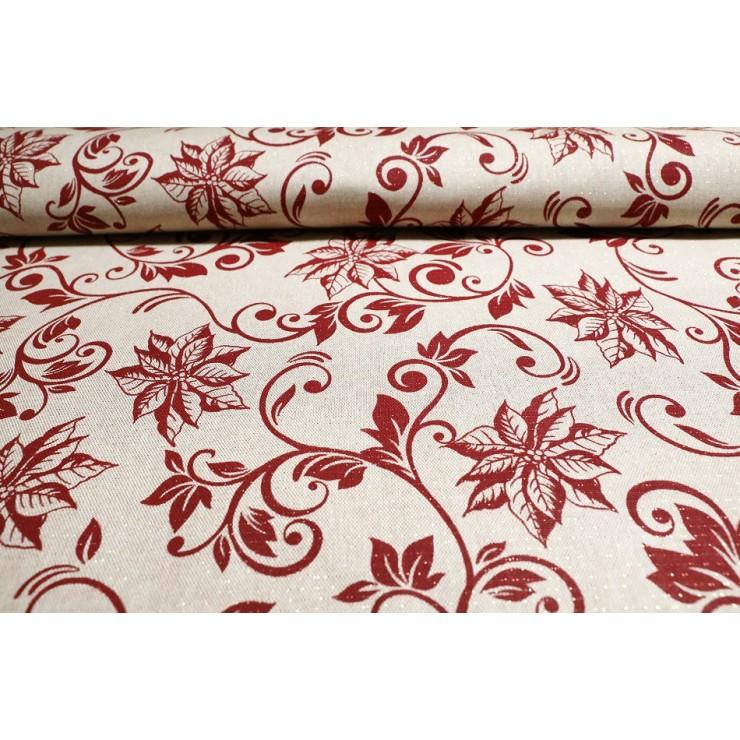 Dekoračná látka Vianočné ruže červené, š. 140 cm