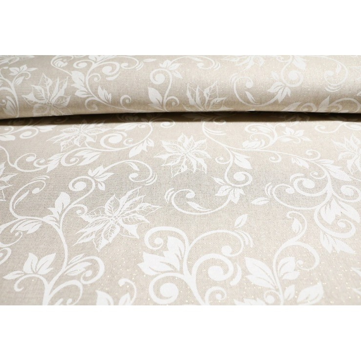 Fabric Christmas white roses, h. 140 cm